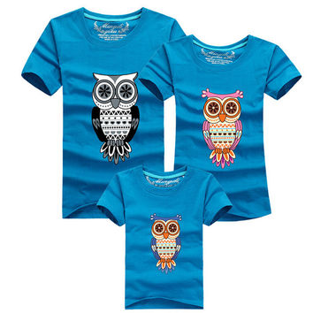Matching family clothes summer tops print owl family t-shirts mother father baby family look plus size short sleeve tees fashion