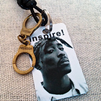 Car rear view mirror charm accessory. Tupac - rap music with quote from 2pac  '' If you can't find something to live for, you best find.. ''