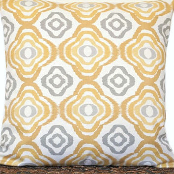 Mustard Ikat Pillow Cover Cushion Retro Geometric Gray Beige Ogee Decorative 18x18