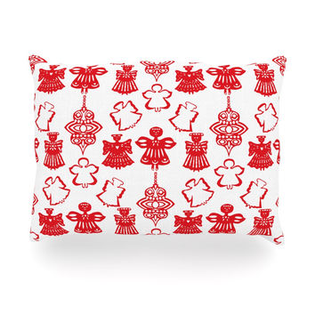 "Miranda Mol ""Angels Singing White"" Red Holiday Oblong Pillow"