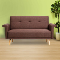 Saddle Brown 2-Seat Fabric Sofa with Wooden Legs