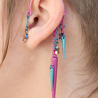 Rainbow Stars and Pink Spikes Chain Dangle Earring