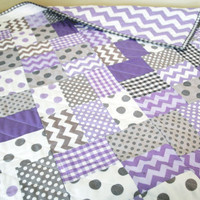 SALE - Lavender and Gray Patchwork Baby Crib Quilt Bedding Blanket Lavender Gray Chevron Dot Gingham Crib Bedding