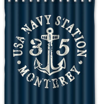 "60"" x 72"" Anchor Navy Shower Curtain"