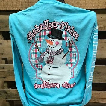 Southern Chics Shake Your Flakes Snowman Comfort Colors Long Sleeves Bright T Shirt