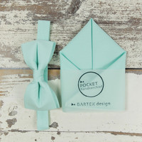 Wedding Set Pre Tied Bow Tie & Pocket Handkerchief by BartekDesign: pastel green blue mint cotton