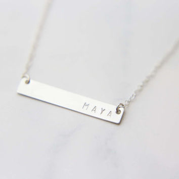 Customized Name Bar Necklace / Monogram & Name Necklace