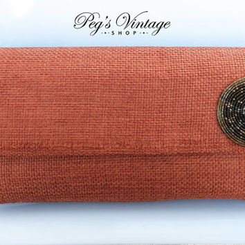 Vintage 1970s Burnt Orange Fabric Weaved Clutch/Purse