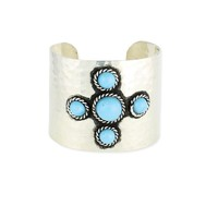 Z Designs Hammered Turquoise Bead Cuff