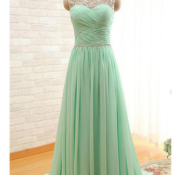 Mint Beaded Charming Backless Cheap Long Chiffon Prom Dresses OK24