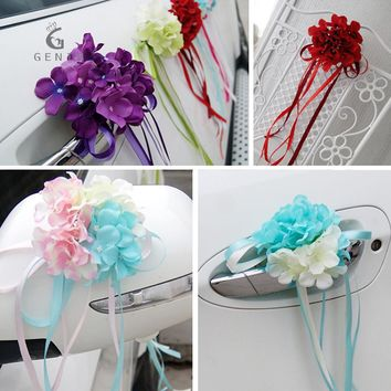 New 6pcs Silk Hydrangea with Ribbon Bows Wedding Car Flower Home Decaoration Acccessories Artificial Flowers DIY Craft Pom Pom