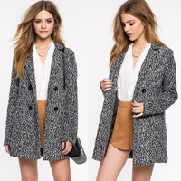 Heathered Double Breasted Wool Blend Coat