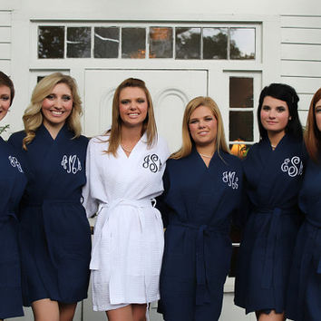 Navy Robe Monogram Bridesmaids Gift waffle weave personalized embroidered