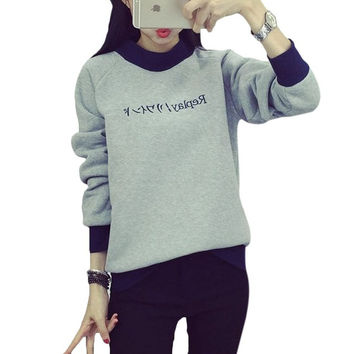 Japanese Fashion Style Vintage Letter Printed Couple Women Hoodies O-neck Long sleeve Autumn Winter Gray Pullover Sweatshirts