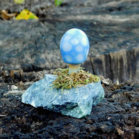 Mini Glass Baby Blue Mushroom on Marble, with moss, Ready to Ship