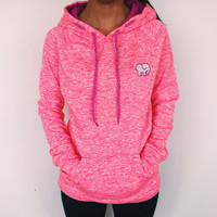 Embroidered Electric Coral Hoodie