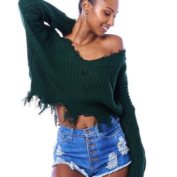 Por Favor Distressed One Shoulder Sweater