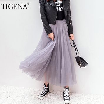 TIGENA Tulle Skirts Womens Summer Long Maxi Skirt Female Elastic High Waist Pleated Tutu Skirt Sun Black Gray White