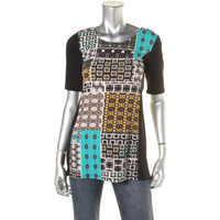 Style & Co. Womens Petites Matte Jersey Printed Pullover Top