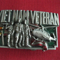 Vintage Vietnam Veteran Belt Buckle Bergamot Brass Works