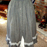 Vintage 1970s Rockmount Ruffle Western Rockabilly Chambray Square Dance Skirt White Petticoat