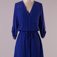 Cambria 3/4 Sleeve Dress - Royal Blue