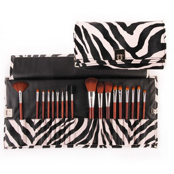 18 PCs Makeup Set with zebra leather pouch.