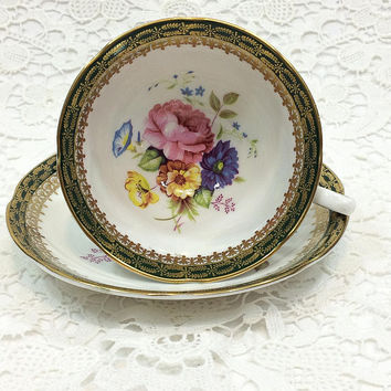 English Tea Cup Saucer, Royal Grafton, Pink Roses Blue Yellow Flowers, Lacy Gilded Green Rims, High Tea, 1950s Vintage Bone China Porcelain