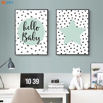 Quote and Heart Prints Mint Green Star Poster Cute Wall Art Modern Canvas Painting Kids Room Home Decor
