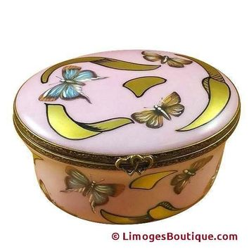 STUDIO COLLECTION - OVAL PINK/BLUE BUTTERFLY - YOUNG GIRL PORTRAIT LIMOGES BOX