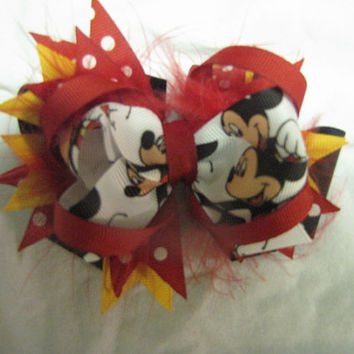 Customized Bow-Mickey Mouse Stacked Boutique Hair Bow - Disney Hair Bows