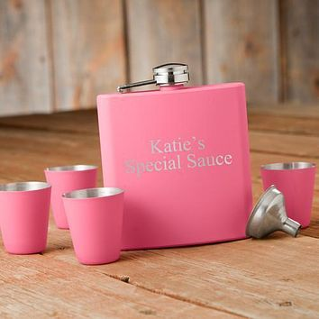 Personalized Flasks - Shot Glass - Gift Set - Pink - Wedding Gifts
