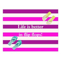 Pink purple stripes happy nautical summer postcard