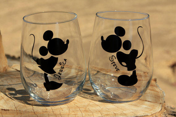 mickey and minnie mouse stemless wine from jcdezigns