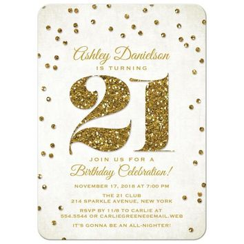 21st Birthday Party Invitations - Gold Glitter Look Confetti