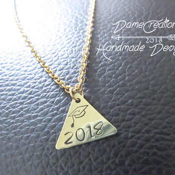 graduation necklace 2018, Tiny Triangle Necklace, Geometric Necklace Minimalist Jewelry, Brass Triangle Necklace. Graduation Jewelry