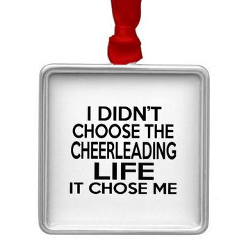 CHEERLEADING LIFE DESIGNS SQUARE METAL CHRISTMAS ORNAMENT