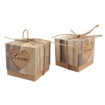 AerWo 50pcs Candy Favor Boxes Vintage Kraft Bonbonniere + 50pcs Burlap Twine, Love Heart Imitation Bark Gift Bag for Wedding Party Birthday Bridal Shower Decoration
