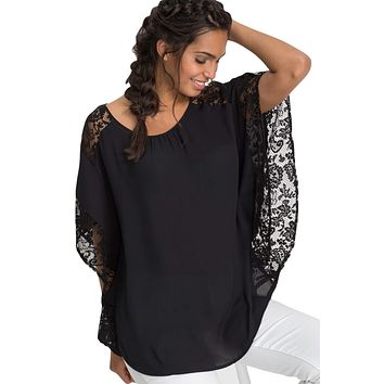 Black Lace Splice Batwing Sleeve Chiffon Blouse