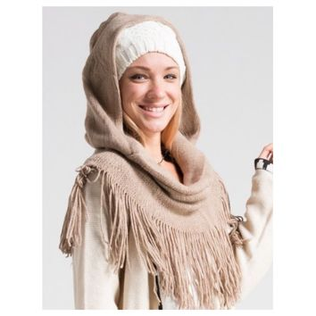 Adorable Me, Fringe Trim Hooded Beige Infinity Scarf