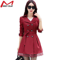 Women Trench Coat Fashion Plus Size Lace Slim Double-Breasted Trench Coats Female Casual Windbreaker Outwear Casaco Femin YL015