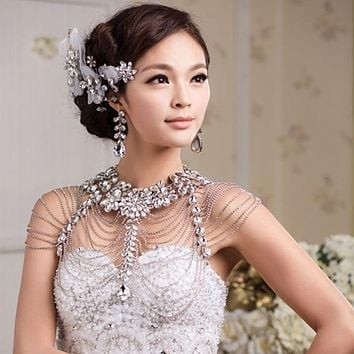 Vintage Luxury Wedding Jewelry Long Crystal Necklace Bridal Shoulder Chain