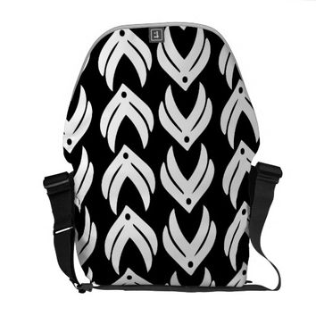 Black and white tribal style pattern courier bag