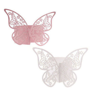 50PCS Butterfly Napkin Ring Paper Holder Table Party Wedding Favors Banquet HU