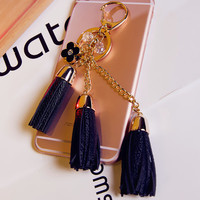 8 Colors Tassel keychain, Suede Leather keyring,Initial and Tassel key ring, Downline Gift, Suede Leather tassel key chain