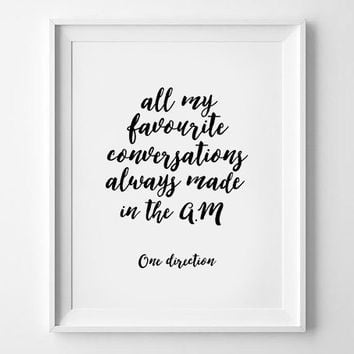 Cheap Boyfriend Gift. One Direction Lyrics. 1d lyrics. Conversations, One Direction AM Lyric Art Print. 1D Poster. 1D Print. 1D Valentines.