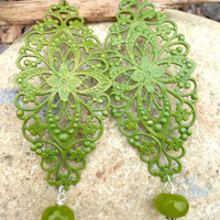 Olive green Long, lightweight filigree metal and stone earrings.