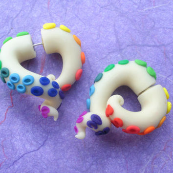 Like A Rainbow in the Dark Tentacle Earring