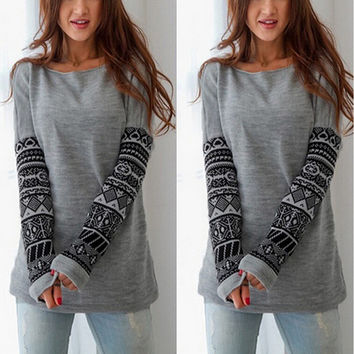 Sexy Slim Round-neck Long Sleeve Print Hoodies Bottoming Shirt [7322495937]
