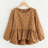 Spot High Low Pep Hem Blouse -SheIn(Sheinside)